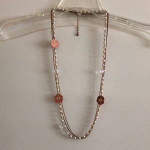 Pearl, Gold, and Coral Flowered Long Necklace
